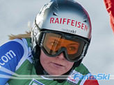 Lara Gut in allenamento a Saas Fee il giorno 